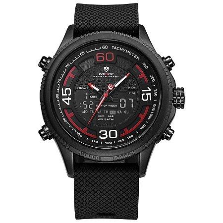Relógio Masculino Weide AnaDigi WH-6306 - Preto e Vermelho