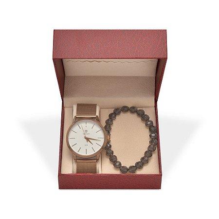 Kit Relógio Unissex Tuguir Analógico TG106 - Café e Pulseira
