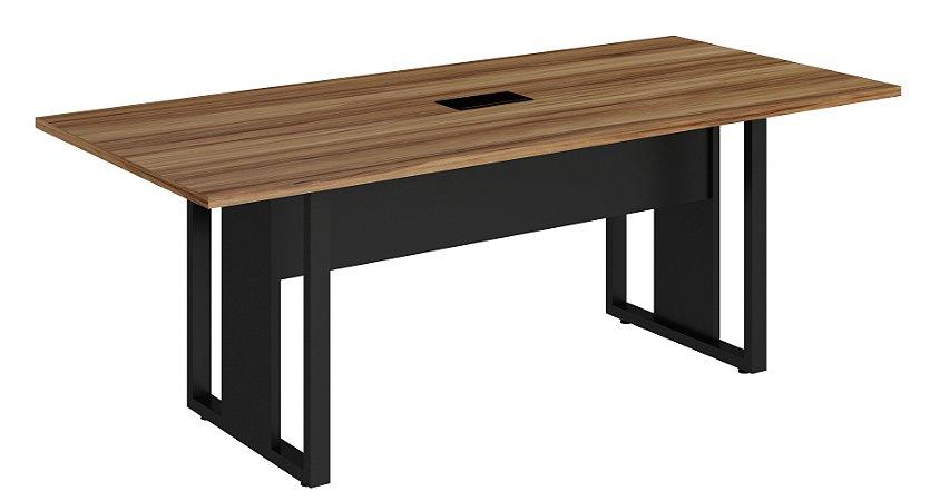 Mesa de Reunião Retangular Pé Quadro c/ Caixa de Tomadas - EXP25