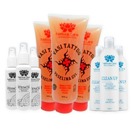 Kit 06 - 3 Stencil Lotion 3 Vaselina 3 Clean Up