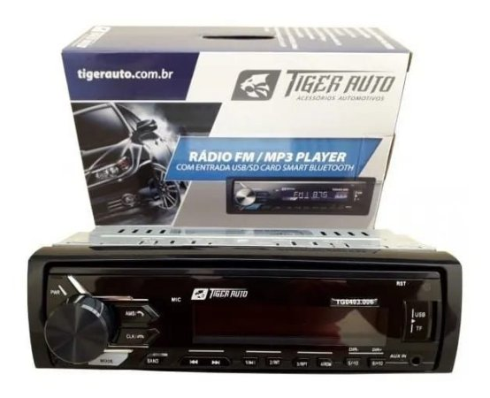 Rádio Som Mp3 Automotivo Tiger Tg 403008 Bluetooth Fm Usb Sd