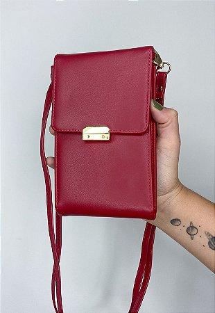 Bolsa Transversal Feminina Pequena Básica Vermelha B037
