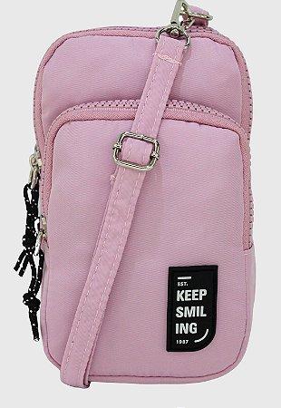 Shoulder Bag Bolsa Transversal Pequena de Nylon Rosa B049