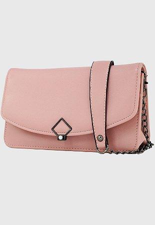 Bolsa Transversal Tiracolo Feminina com Alça de Corrente Rosa B047