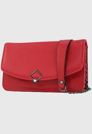 Bolsa Transversal Tiracolo Feminina com Alça de Corrente Vermelha B047