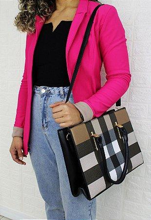 Bolsa Transversal e de Ombro Feminina com Estampa Xadrez Preta B046