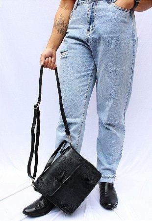 Bolsa Transversal e de Mão Feminina Preta B048