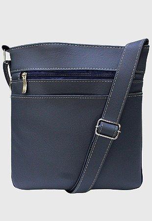 Bolsa Transversal Básica Feminina Masculina Azul LE05
