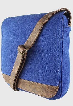 Bolsa Transversal de Lona Feminina Masculina Azul A008