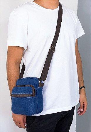 Shoulder Bag Bolsa Transversal Lona Azul A009