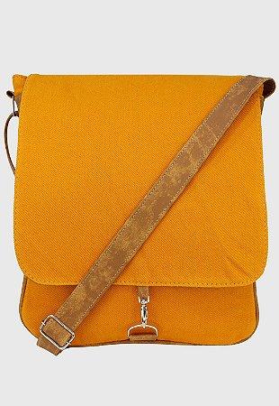 Bolsa Transversal de Lona Amarela Mostarda L068