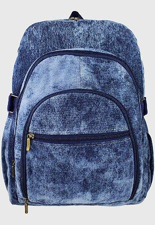 Mochila Jeans Escolar Grande Marmorada L083