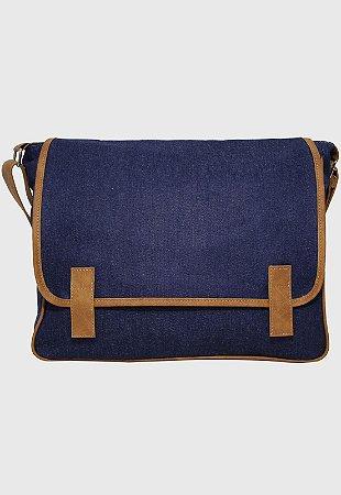 Pasta Carteiro Transversal Jeans Azul Marinho L069