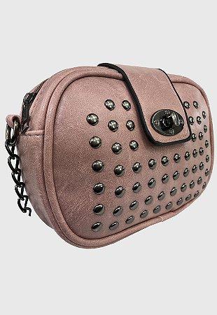 Bolsa Tiracolo Feminina Pequena com Pedraria Rosa B022