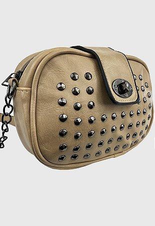 Bolsa Tiracolo Feminina Pequena com Pedraria Bege B022