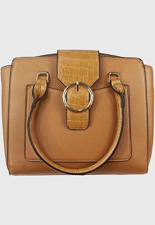 Bolsa Baú de Ombro Feminina Grande Caramelo B0281