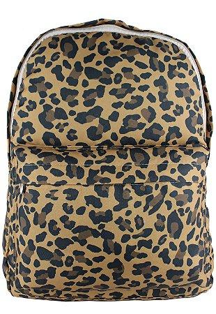 Mochila Escolar Grande de Nylon Estampa Leopard Print Bege L099-19