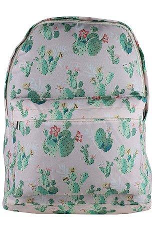 Mochila Escolar Juvenil Grande de Nylon Estampa Cactus Rosa L099-14