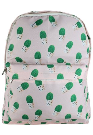 Mochila Escolar Juvenil Grande de Nylon Estampa Cactus Rosa L099-7