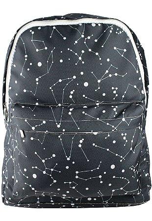 Mochila Escolar Juvenil Grande de Nylon Estampa Constelação Preta L099-9