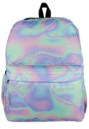 Mochila Grande de Nylon Estampa Holográfica Multicolorida A015