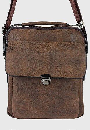 Bolsa Transversal Side Bag Masculina Feminina Marrom B036