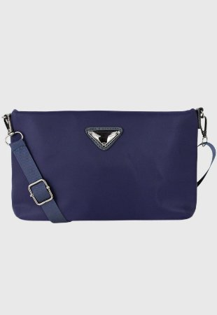Bolsa Transversal Feminina de Nylon Azul B042