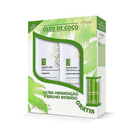 Kit Triskle Fios De Porcelana Óleo De Coco (shampoo E Condicionador 500ml)+ Power Dose 45ml