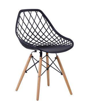 Cadeira Decorativa Matheus Preta Base em Madeira