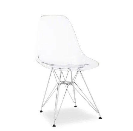 Cadeira Transparente com Base Cromada