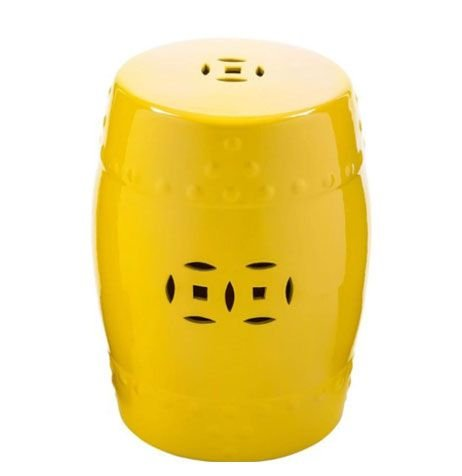 Puff Cerâmico Decorativo Amarelo