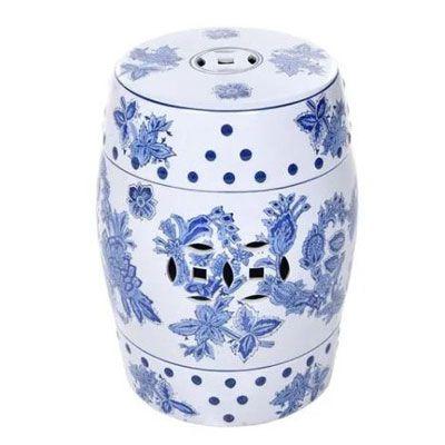 Puff Cerâmico Decorativo Floral Azul