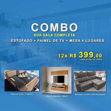 COMBO ESTOFADO + PAINEL + MESA DE JANTAR 4 LUGARES