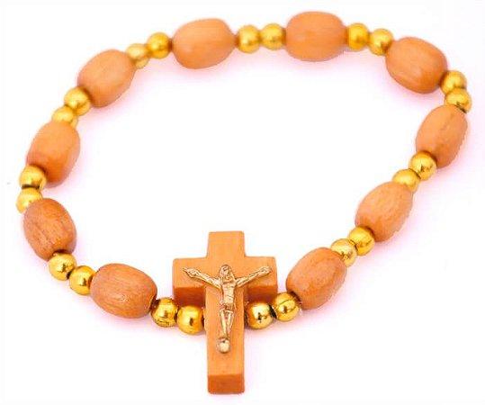 Pulseira de Madeira com Crucifixo