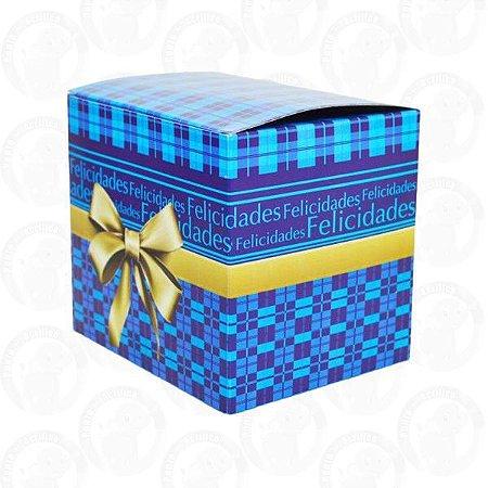 Caixa De Papelão Decorada Xadrez Azul Para Caneca PCT C/ 10 Und