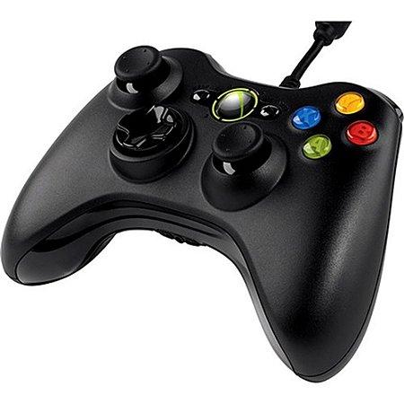 Controle Xbox 360 com Fio Preto - Microsoft