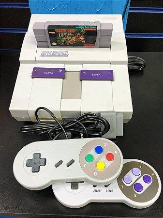 Usado Console Super Nintendo + 2 Controles + Jogo Donkey Kong Country - Nintendo