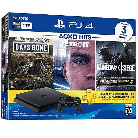 Console Playstation 4 Slim PS4 1TB + Days Gone + Detroit + Rainbow Six Siege - Sony