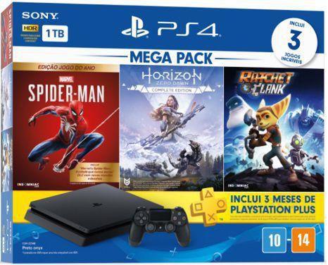 Console Playstation 4 Slim PS4 1TB + Horizon Zero Dawn Complete + Spiderman + Ratchet & Clank - Sony