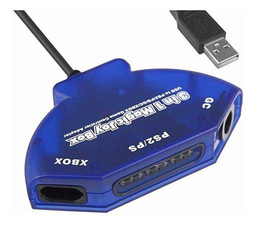 Adaptador de controle PS2 PS1 Gamecube e Xbox para PC - Importado