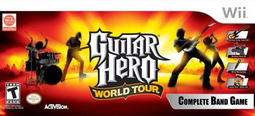 Usado Kit Wii Guitar Hero World Tour Guitarra + Bateria + Microfone + Jogo - Activision