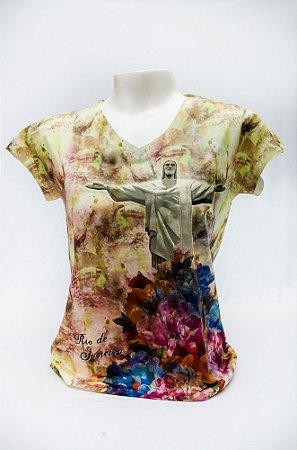 Camiseta Feminina Flores | Cristo Redentor