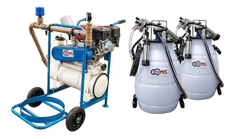 Ordenhadeira Móvel A Gasolina Com 2 Conjuntos E 2 Tarros