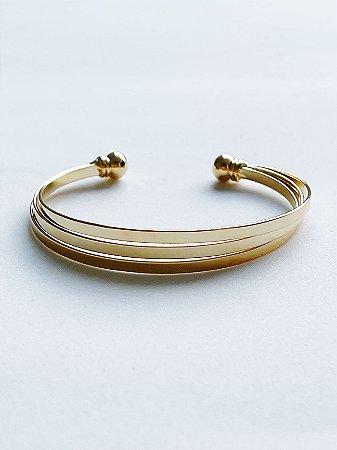 Bracelete 3 Tiras Lisas - SEMIJOIA