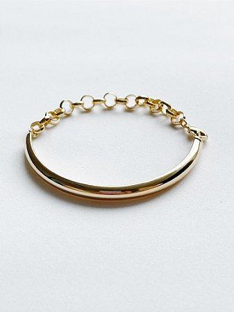 Bracelete Liso com Corrente - SEMIJOIA