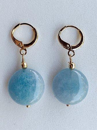 Argolinha Jade Azul Semijoia