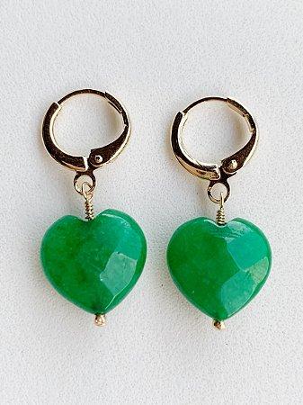 Argolinha Coração Jade Semijoia