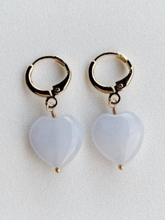 Argolinha Coração Quartzo Branco Semijoia