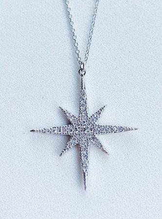Colar Estrela Star Prata Rodinada