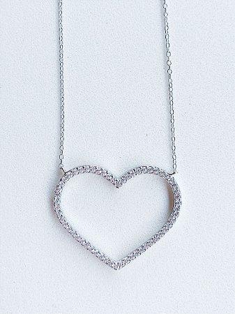 Colar Coração Prata Rodinada